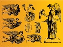 中世纪欧洲绘画7位天使 AI格式